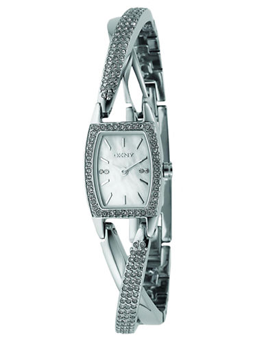 DKNYLadies Stainless Steel Crystal-Accent Cross-Over Bracelet Watch