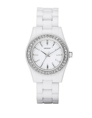DKNYLadies White Plastic Glitz Watch