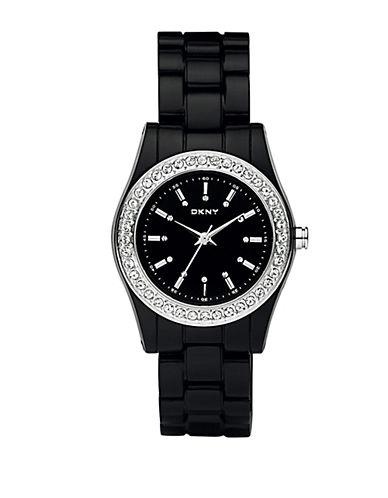 DKNYLadies Black Plastic Glitz Watch