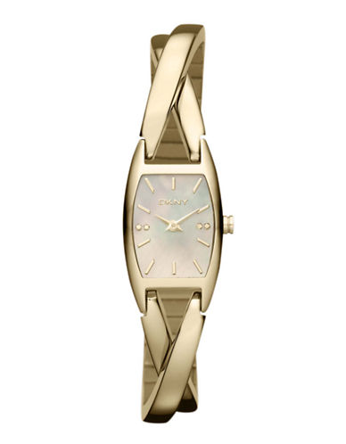 DKNYLadies Stainless Steel Gold-Tone Crisscross Watch