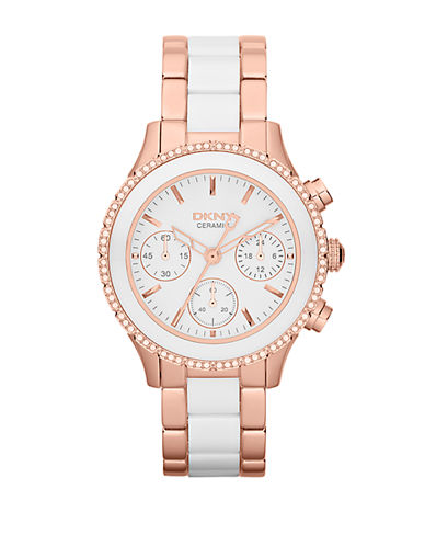 DKNY Ladies White Ceramic and Rose Goldtone Stainless Steel Chronograph Watch