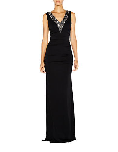 Florence Beaded V Neck Crepe Gown $454.99 AT vintagedancer.com