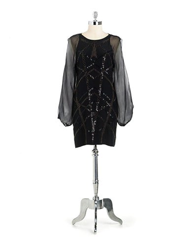 NICOLE MILLERSilk Split Sleeved Beaded Shift Dress