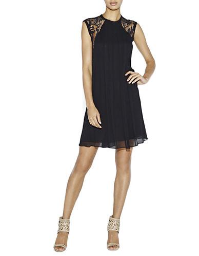 NICOLE MILLERMorgan Lace Sleeve Swing Dress