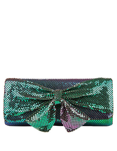 JESSICA MCCLINTOCKMetal Embellished Clutch with Bow Accent