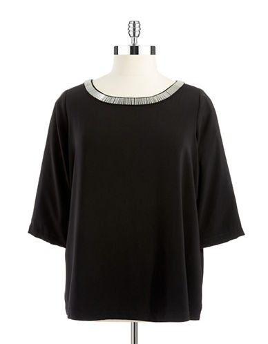 Dknyc Plus Plus Embellished Neck Top