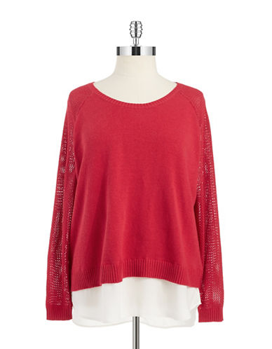 Dknyc Plus Plus Knit Raglan Sleeved 2fer Sweater