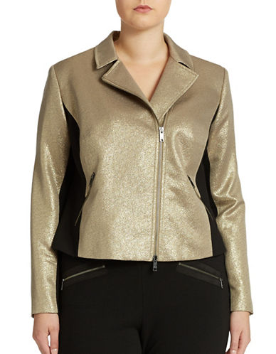 Dknyc Plus Plus Metallic Asymmetrical Moto Jacket
