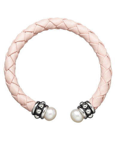 HONORA STYLEPink Leather Baby Bracelet with Sterling Silver and Freshwater Pearls