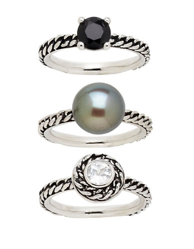 HONORA STYLE Variegated Sterling Silver Ring Set - 3