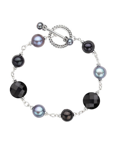 HONORA STYLE Sterling Silver Freshwater Pearl and Onyx Bracelet