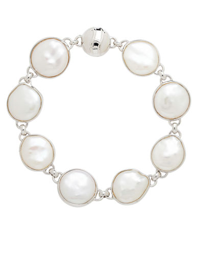 HONORA STYLE Sterling Silver Freshwater Pearl Coin Bracelet