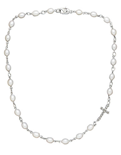 HONORA STYLE Sterling Silver and Freshwater Pearl Cross Necklace