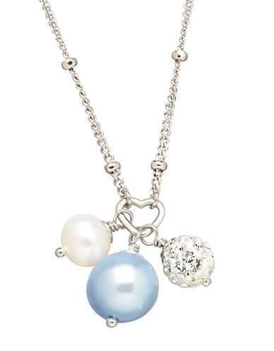HONORA STYLE Sterling Silver Freshwater Pearl Baby Necklace with Crystal Beads