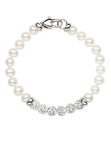HONORA STYLE Sterling Silver Freshwater Pearl Baby Bracelet with Crystal Beads