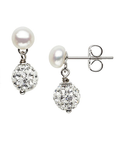 HONORA STYLE 5MM-6MM Sterling Silver Freshwater Pearl Baby Earrings with Crystal Beads