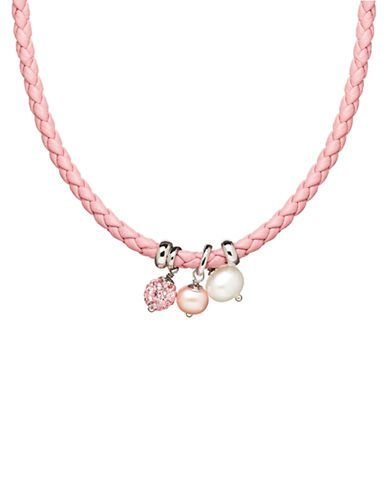 HONORA STYLESterling Silver Leather Baby Necklace with Freshwater Pearls and Crystal Beads