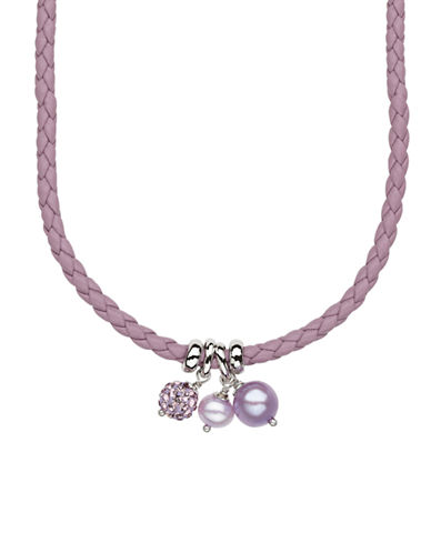 HONORA STYLESterling Silver Leather Baby Necklace with Lavendar Fresh Water Pearls and Crystal Beads