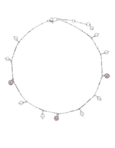 HONORA STYLE Sterling Silver Lilac Freshwater Pearl Baby Necklace with Crystal Beads