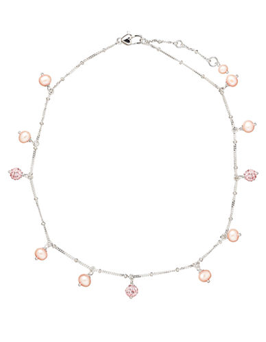 HONORA STYLE Sterling Silver Baby Necklace with Pink Freshwater Pearls and Crystal Beads