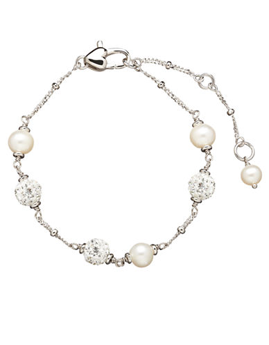 HONORA STYLE 4.5MM 5.5MM Sterling Silver Fresh Water Pearl Baby Bracelet with Crystal Beads