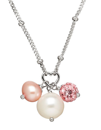 Honora Style White and Pink Freshwater Pearls and Sterling Silver Pendant Necklace