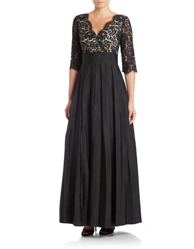 Three Quarter-Sleeve Surplice Lace Gown $299.00 AT vintagedancer.com