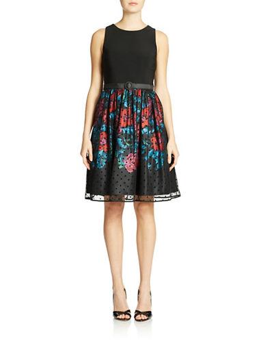 ELIZA JMesh Polka Dot Floral Dress