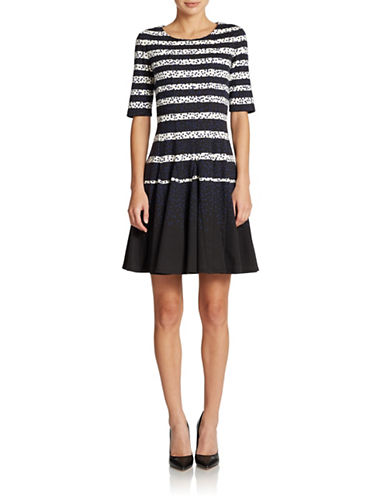 ELIZA J Striped Fit And Flare Dress