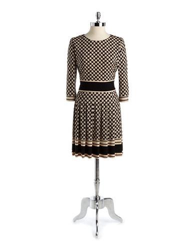 ELIZA JPrinted Pleated A Line Dress