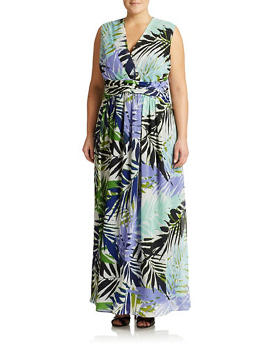 Plus Tropical-Print Maxi Dress