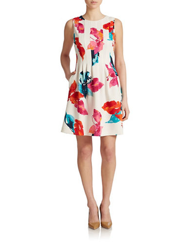 Shop Vince Camuto online and buy Vince Camuto Printed Scuba Fit and Flare Dress dress online