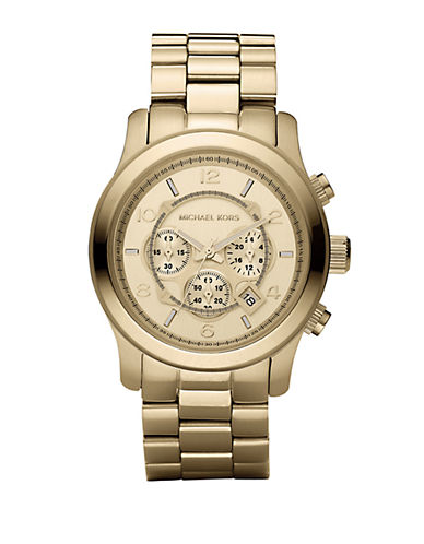 MICHAEL KORS Mens Gold-Plated Stainless Steel Chronograph Watch