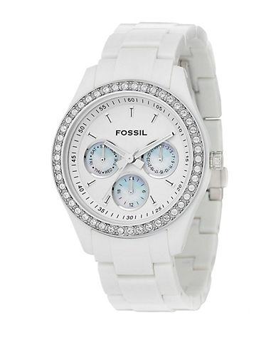 FOSSILLadies Crystal-Accent White Resin Boyfriend Watch