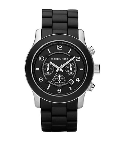 MICHAEL KORS Mens Black Polyurethane-Wrapped Chronograph Watch