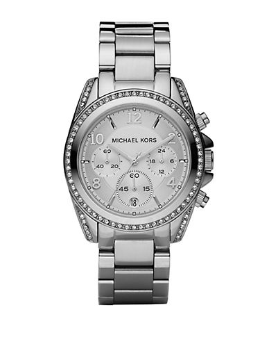 MICHAEL KORS Ladies Crystal Pave Stainless Steel Chronograph Watch