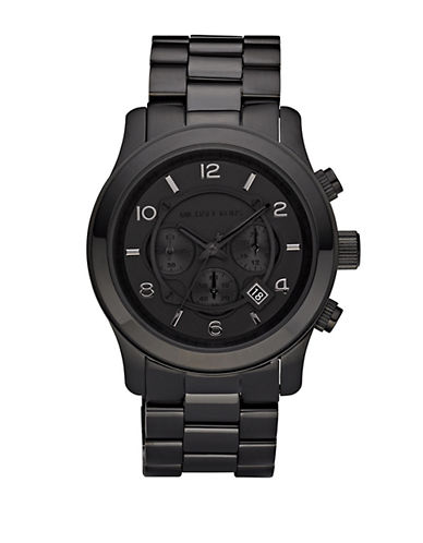 michael kors male blackonblack stainless steel chronograph watch