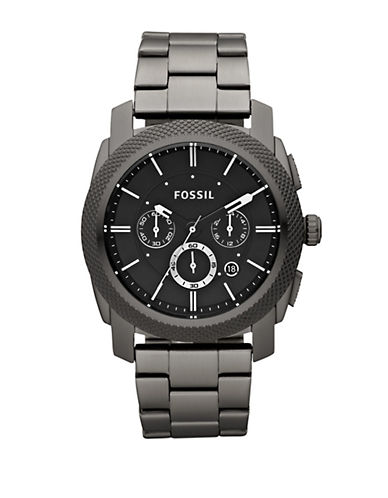 FOSSIL Mens Machine Smoke Stainless Steel Chronograph Watch