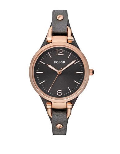 FOSSILLadies Georgia Black Leather Watch
