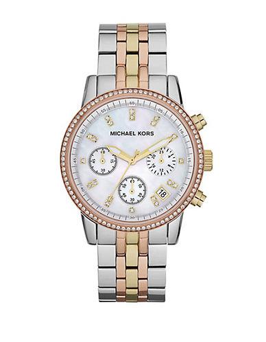 MICHAEL KORSLadies Ritz Tri-Tone Chronograph Glitz Watch
