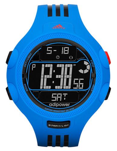 ADIDASMens Adipower Black and Blue Stripe Digital Watch
