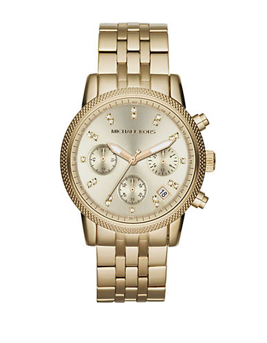 MICHAEL KORS Ladies Ritz Goldtone Stainless Steel Chronograph Watch with Crystals