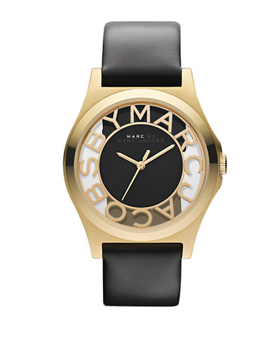 MARC BY MARC JACOBSLadies Gold Tone and Black Leather Watch
