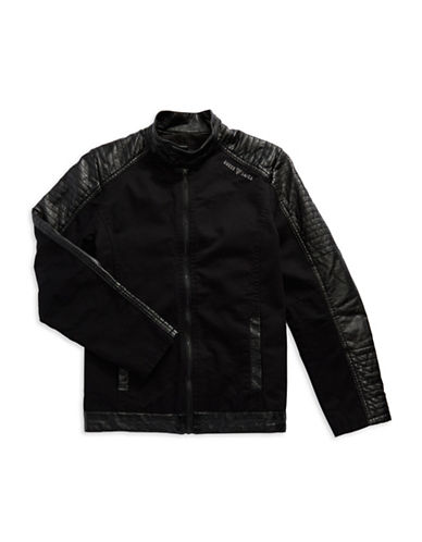 GUESS Boys 8-20 Faux Leather Accented Biker Jacket