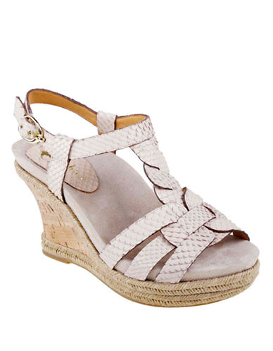 EARTHIES Corsica Embossed Leather Strappy Wedge Sandals