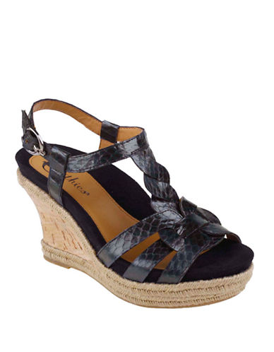 EARTHIES Corsica Cork-Wrapped and Snake-Embossed Leather Wedge Sandals