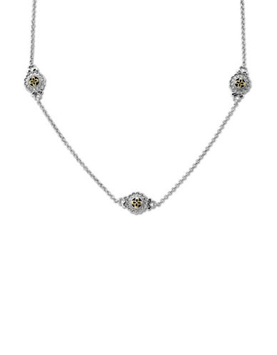 LORD & TAYLOR Sterling Silver with 14Kt. Yellow Gold Diamond Necklace