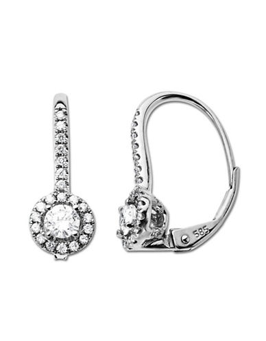 LORD & TAYLOR0.50 ct t w Diamond Hoop Earrings in 14 Kt White Gold