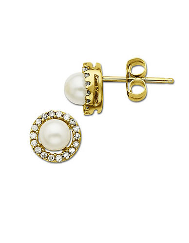 LORD & TAYLOR Freshwater Pearl Earrings with Diamond Accent in 14 Kt. Yellow Gold, 6MM