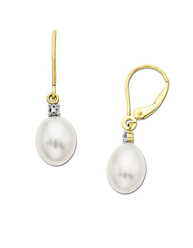 LORD & TAYLOR Pearl Drop Earrings with Diamond Accent in 14 Kt. Yellow Gold, .01 ct. t.w. 10MM